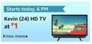 Big LOOT @ 6PM | Kevin 61 cm (24 Inches) HD Ready LED TV KN24832 (Black) @ Rs.1 | With Inbuilt Soundbar